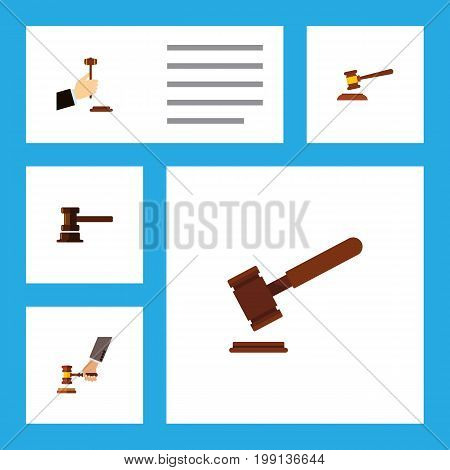 Flat Icon Hammer Set Of Crime, Law, Government Building And Other Vector Objects