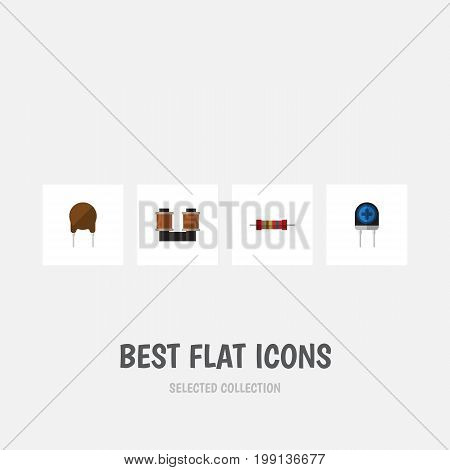 Flat Icon Electronics Set Of Resistance, Triode, Transducer And Other Vector Objects