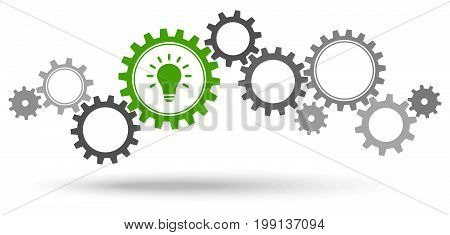 Gray Gears With Green Light Bulb