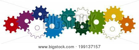 Colored Gears For Cooperation Symbolism