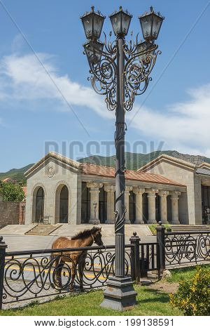 new tourist center built by the classical greek style in Mtskheta, city in Mtskheta-Mtianeti province of Georgia