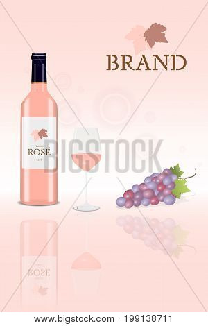 Brand. Bottle of rose wine (blush wine) with glass and a bunch of grapes with logo.
