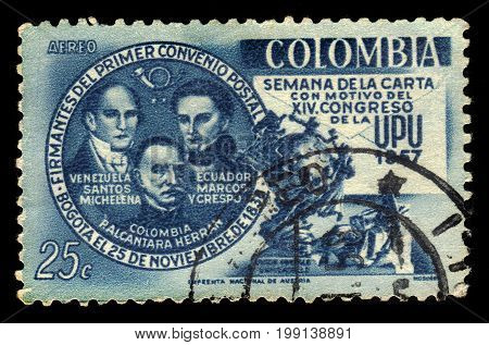 Colombia - circa 1957: A stamp printed in Colombia shows Santos Michelena, Francisco De Marcos Y Crespo, Pedro Alcantara Herran, political leaders of Latin America and UPU Monument in Bern, circa 1957