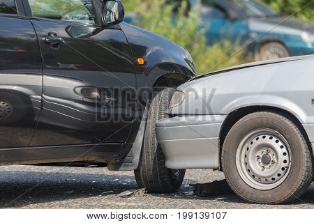 Car automobile crash from car accident on the road in a city