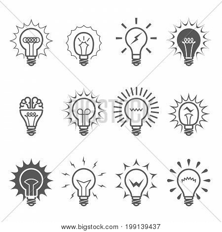 Light bulb icons - idea innovation and inspiration symbols