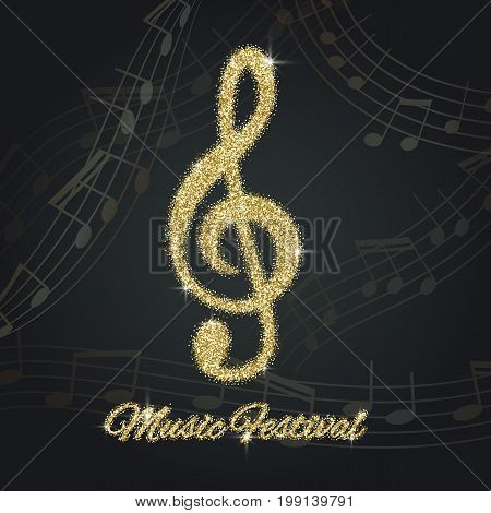 Abstract Background With Gold Music Notes And A Treble Clef