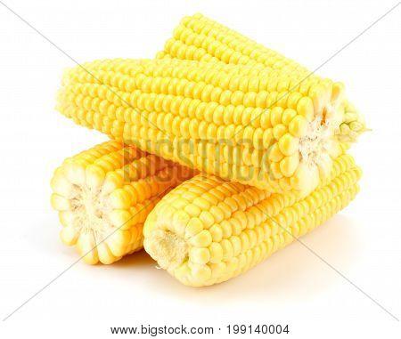Fresh corn on cob isolated on white background