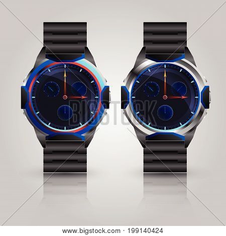Dual Metallic men wrist watch Vector illustration