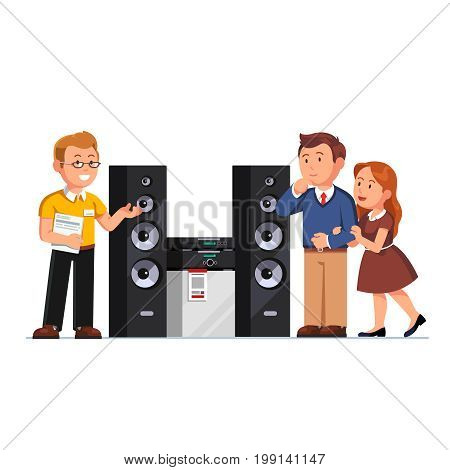 Shop assistant showing three-way hi-fi stereo system floor standing tower speakers to customers family couple at electronics retail store. Flat style vector illustration isolated on white background.