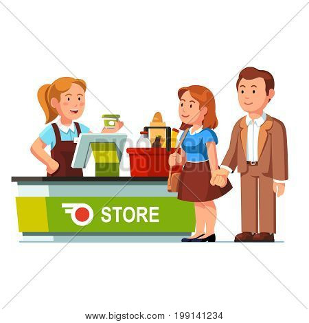 Cashier girl working ringing food goods at checkout counter and serving customers at grocery store or supermarket. Shopping basket. Retail business. Flat style vector isolated illustration on white.