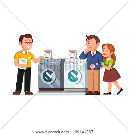 Shop seller assistant showing washing, drying machines to customers man, woman. Family couple buying new washer in domestic appliances store. Retail business. Flat style vector isolated illustration.