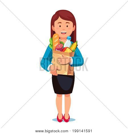 Smiling woman standing holding grocery paper bag full of food and dairy products. Business lady doing shopping chores. Flat style vector illustration on white background.