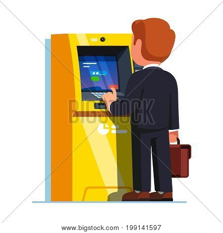 Business man entering PIN code after inserting credit card to make transaction with teller cash machine. Street ATM money deposit and withdrawal. Flat style vector illustration on white background.