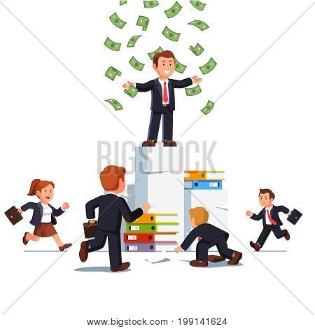 Businessman leader with wide open arms standing on the top of paper stack under falling money rain over his colleagues running. Business leadership and job opportunity. Flat style vector illustration.