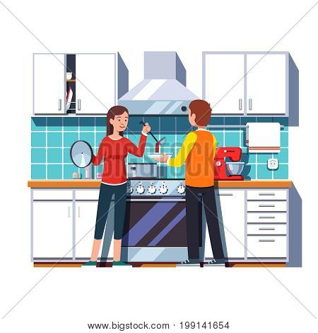 Woman wife pouring soup with ladle into a bowl for man husband. Home kitchen interior with cabinets shelves, oven, cooker hood, mixer, pot. Flat style vector illustration isolated on white background.