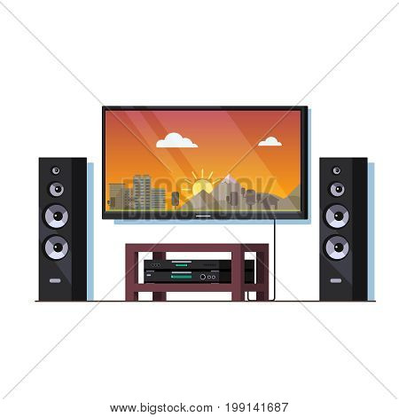 Modern home theatre system or high end stereo setup with big wall tv screen, standing tower speakers, stand cabinet and blue ray player. Flat style vector illustration isolated on white background.