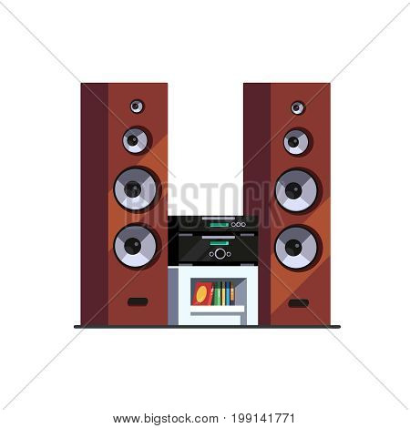 Three way high end wooden floor standing tower speakers stereo music system with amplifier, receiver and blue ray player on table. Flat style vector illustration isolated on white background.