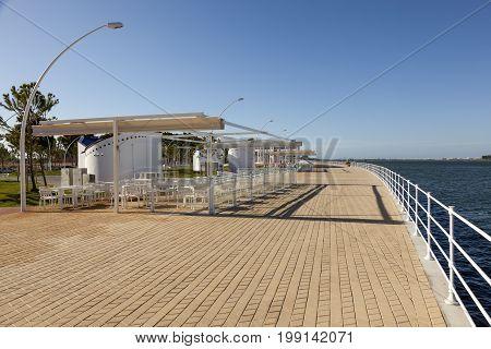 Promenade at the Rio Tinto river in the city of Huelva. Andalusia Spain
