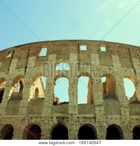 Colosseum in Rome, Italy. Rome Colosseum is one of the main attractions of Rome and Italy. Square toned image