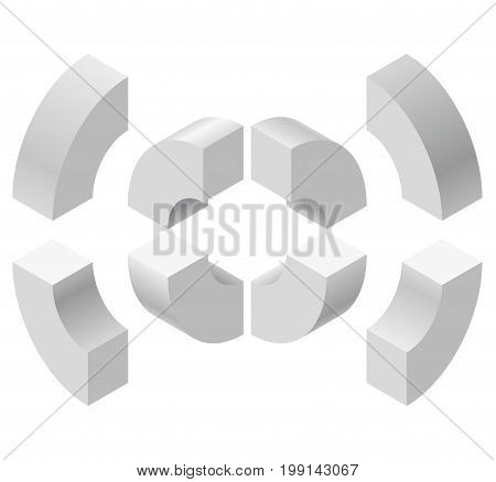 Arched shapes in isometric perspective, isolated on white background. Basic building blocks for creating abstract objects, background. Gray three-dimensional round shapes figure. Low poly vector.