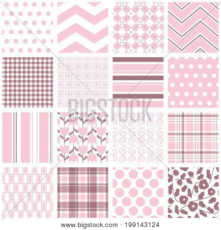 16 seamless background patterns in pale pink