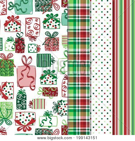 Christmas Patterns - seamless red and green holiday patterns. File includes gift print with coordinating plaid, polka dot and stripe.