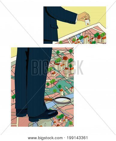 Two fragments of the body of a man in a suit standing on a quarter map of the city with the designation of houses and trees. A man's hand holds a house layout. Computer graphics