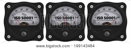 ISO 50001. The percent of implementation. Analog indicator showing the level of ISO 50001 implementation. 3D Illustration. Isolated