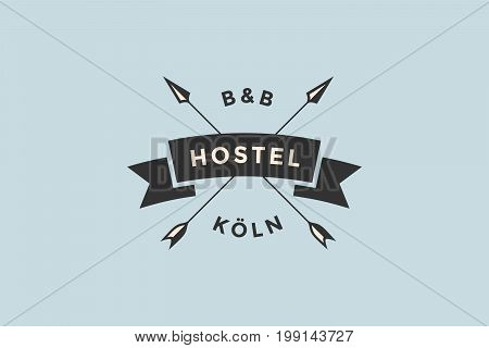 Emblem of Hostel with arrows and text BB, Hostel. Logo template for hostel or hotel in vintage retro style. Logo, signs, labels, identity, badges for business brands. Vector Illustration