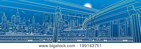 Transportation overpass bridge, urban infrastructure, modern city on background, vector design art