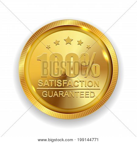 100 Satisfaction Guaranteed Golden Medal Label Icon Seal Sign Isolated on White Background. Vector Illustration EPS10