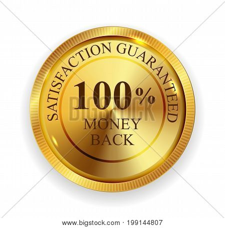 Premium Quality 100 Money Back Golden Medal Icon Seal Sign Isolated on White Background. Vector Illustration EPS10