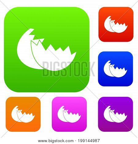 Egg shell set icon in different colors isolated vector illustration. Premium collection
