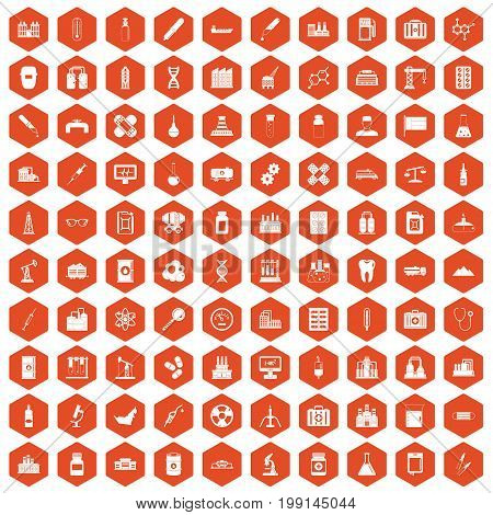 100 chemical industry icons set in orange hexagon isolated vector illustration