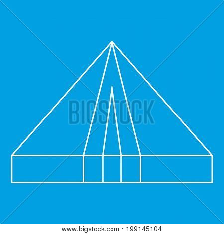 Tourist triangle tent icon blue outline style isolated vector illustration. Thin line sign