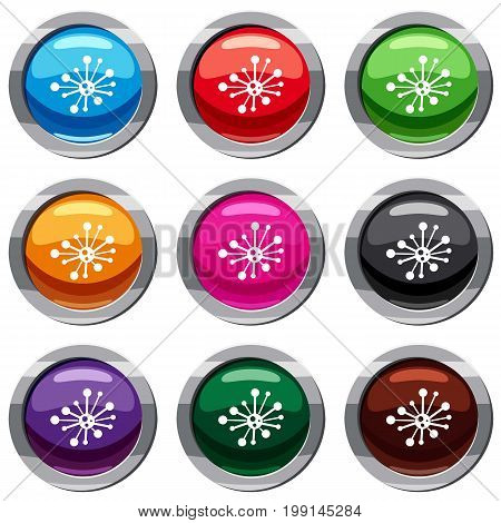 Round bacteria set icon isolated on white. 9 icon collection vector illustration