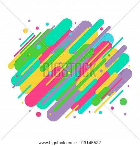 Abstract colored rounded shapes lines in diagonal rhythm. For greeting card, poster, brochure or flyer template. Vector illustration.