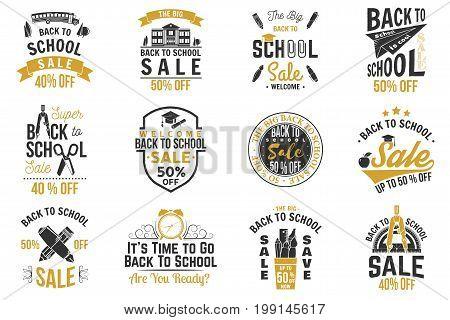 Back to School design. For advertising, promotion, poster, flier, blog, article, social media, marketing or banner. Vector illustration. Vintage typography design with school supplies and Back to School Sale text.