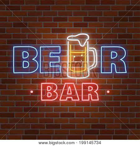 Retro neon Beer Bar sign on brick wall background. Vector illustration. Neon design for bar, pub or restaurant business.
