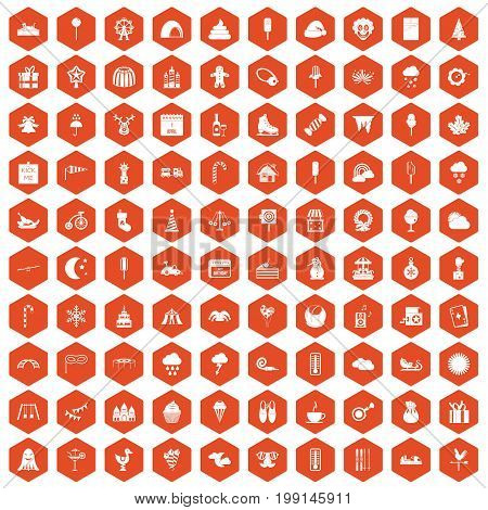 100 childrens parties icons set in orange hexagon isolated vector illustration