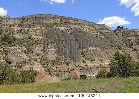 Bentonite Clay Sliding Down a Badlands Slope in Theodore Roosevelt National Park in North Dakota