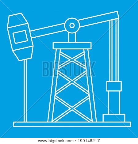 Oil pump icon blue outline style isolated vector illustration. Thin line sign