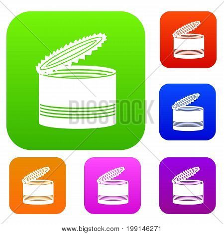 Open tin can set icon in different colors isolated vector illustration. Premium collection