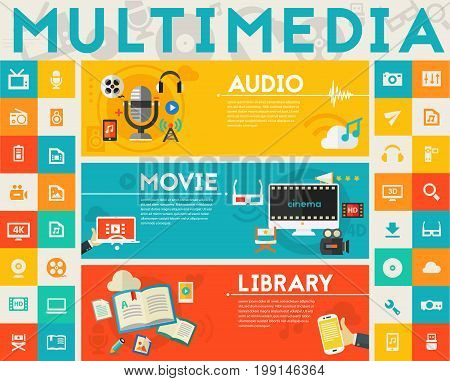 Multimedia three concept banners with UI elements. Three vector illustrations and collection of banners, icons and buttons for mobile app and website UI designs