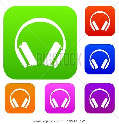 Protective headphones set icon in different colors isolated vector illustration. Premium collection