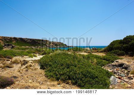 View of the Cretan wild countryside, nature and landscape