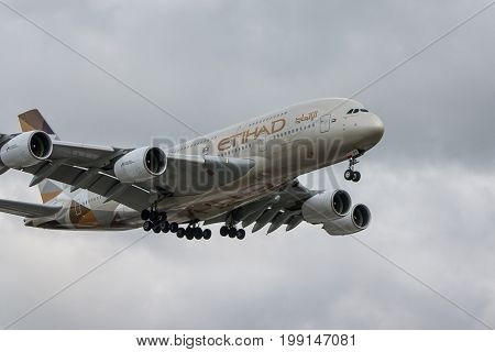London UK - August 8 2017:Airbus A380 Etihad airlines landing at London Heathrow airport