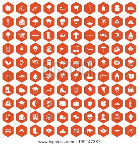 100 clouds icons set in orange hexagon isolated vector illustration