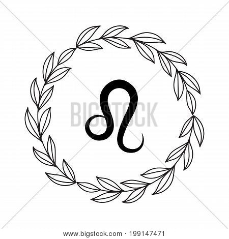 Hand drawing flat leo symbol in rustic floral wreath