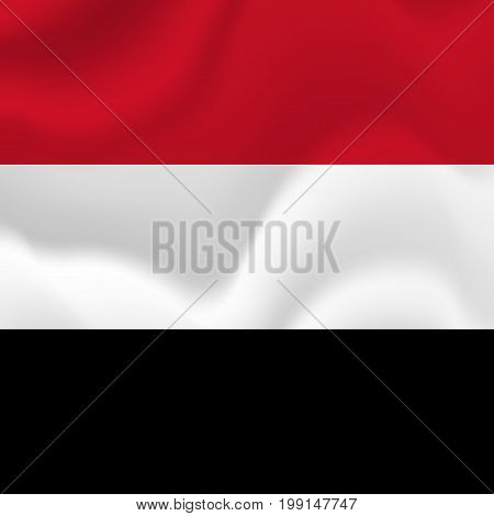 Yemen waving flag. Waving flag. Vector illustration.